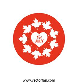 Canada day concept, heart with maple leaves around, block silhouette style