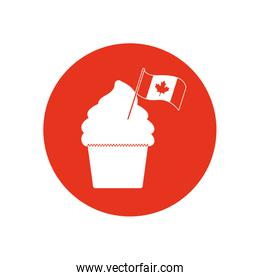 canada day cupcake with decorative canada flag, block silhouette style