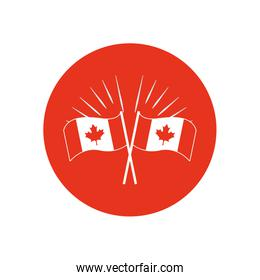 Canada day concept, decorative candian flags icon, block silhouette style