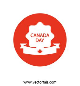 seal with Canada day design and decorative ribbon, block silhouette style