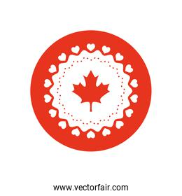 Canada day design with maple flag and hearts round frame, block silhouette style