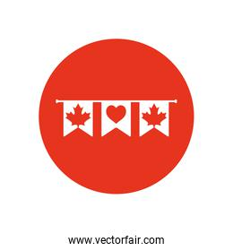 Canada day concept, decorative pennants with maple leaves and heart, block silhouette style