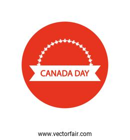 Canada day design with decorative ribbon and maple leaves ornament, block silhouette style