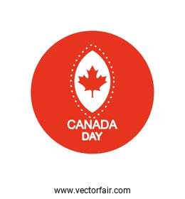 Canada day design with maple leaf icon, block silhouette style