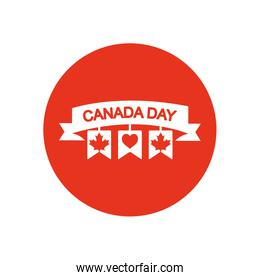 Canada day concept, decorative ribbon with pennants and related canadian maple leaves, block silhouette style