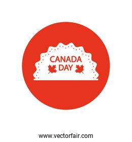 sea with Canada day design and decorative maple leaves icon, block silhouette style