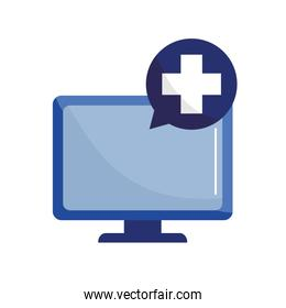 computer with cross bubble flat style icon vector design