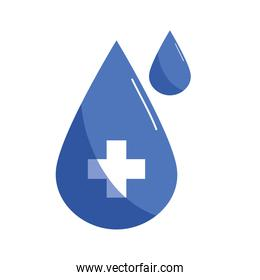 drop with cross flat style icon vector design