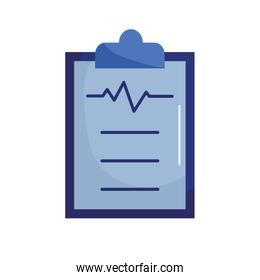 Medical document with pulse flat style icon vector design