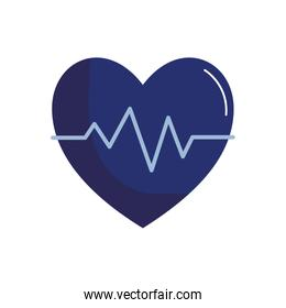 medical heart pulse flat style icon vector design