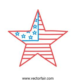 Usa flag star line and fill style icon vector design
