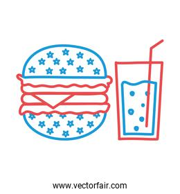 hamburger and drink glass line and fill style icon vector design