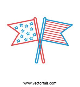 Usa flags line and fill style icon vector design