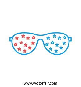 Glasses with stars line and fill style icon vector design