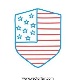 Usa flag shield line and fill style icon vector design