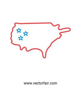 Usa map line and fill style icon vector design