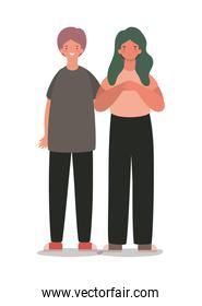 Isolated happy and sad woman and man cartoon vector design