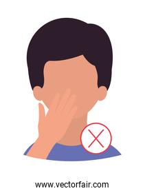 Boy head with hand touching face and forbidden symbol vector design
