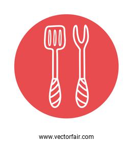 Fork and spatula block style icon vector design