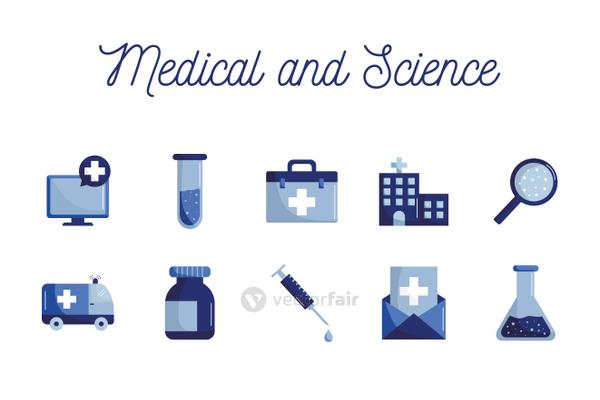 Medical and science flat style icon set vector design