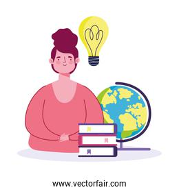 teacher with school globe books idea cartoon