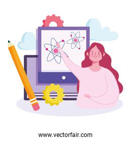 online education, teacher with web science teaching course