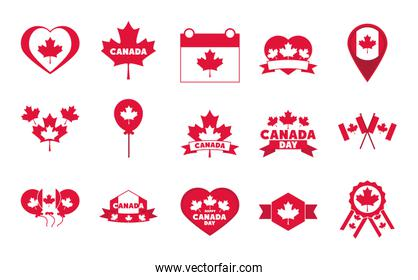 canada day, independence freedom national patriotism celebration icons set flat style icon