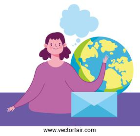 online education, teacher envelope message world design