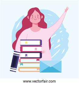 online education, teacher female  and stacked books and envelope