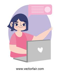 working remotely, young woman with laptop chatting design