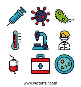 syringe, virus and medicine icon set, line and fill style