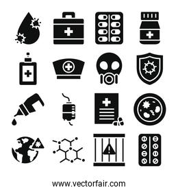 water drop, virus and medicine icon set, silhouette style