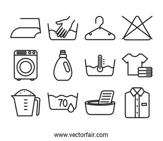 clothes and textile care symbols icon set, line style