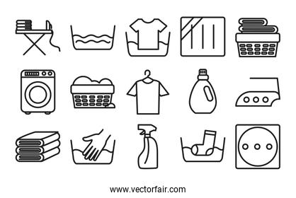 washing machine and Textile care icon set, line style