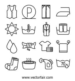 water drops and textile care symbols icon set, line style