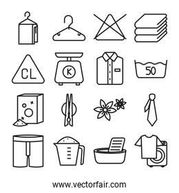 clothing hangers and Textile care icon set, line style