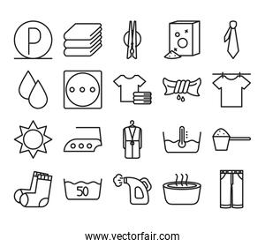 water buckets and Textile care icon set, line style