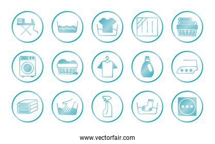 washing machine and Textile care icon set, gradient style