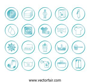 water buckets and Textile care icon set, gradient style