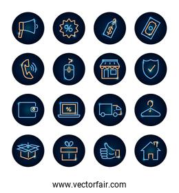 megaphone and shopping online icon set, neon style