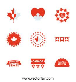 decorative pennants and Canada day icon set, silhouette style