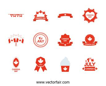 maple leaves and Canada day icon set, silhouette style