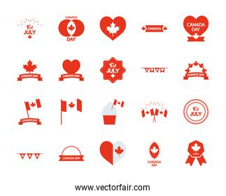 decorative ribbon and Canada day icon set, silhouette style