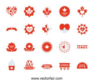 cupcakes and canada day icon set, silhouette style