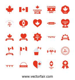 canada flags and Canada day icon set, line silhouette style