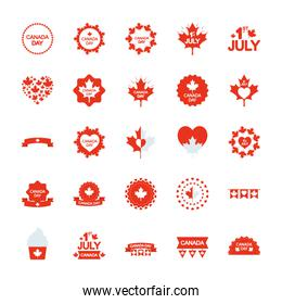 decorative round frames and canada day icon set, silhouette style