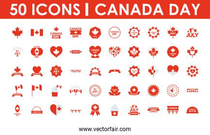 Canada day icon set, silhouette style