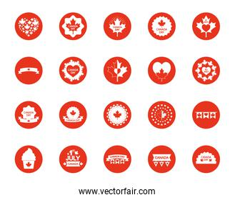 cupcakes and canada day icon set, block silhouette style
