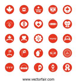 canada flags and Canada day icon set, block silhouette style