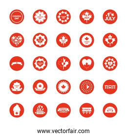 decorative round frames and canada day icon set, block silhouette style